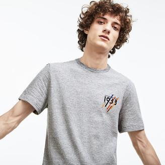 Lacoste Men's Crew Neck 1933 Lettering Striped Cotton Jersey T-shirt