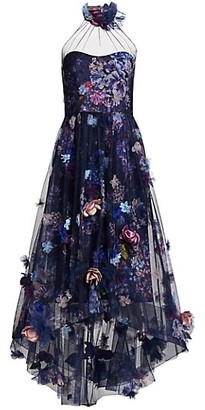 Marchesa Notte 3D Floral Shirred High-Low Gown