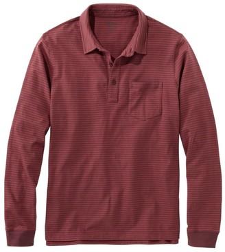 L.L. Bean Men's LakewashedA Organic Cotton Polo with Pocket, Long-Sleeve, Stripe