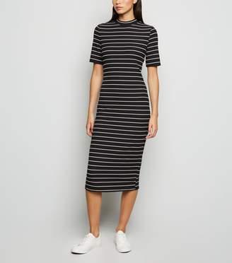 New Look Stripe High Neck Jersey Midi Dress