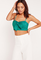 Missguided Crochet Bow Detail Crop Top Green