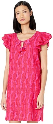 Vineyard Vines Embroidered Palm Vineyard Tunic Dress (Raspberry/Rose) Women's Dress