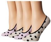 Kate Spade 4-Pack Sheer Dot Liner Women's Crew Cut Socks Shoes