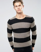 Replay Block Stripe Crew Sweater in Black