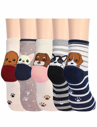 FromNlife 5 Pairs Womens Cute Animals Socks for Girls Funny Funky Novelty Socks