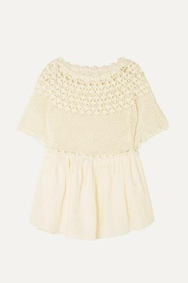 Innika Choo Paue Wurful Crocheted Linen Top - Cream