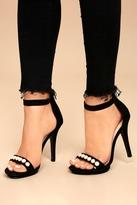 Wild Diva Camille Black Suede Pearl Platform Heels