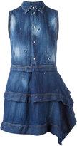 DSQUARED2 asymmetric skirt shirt dress - women - Cotton/Spandex/Elastane - 40
