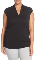 Vince Camuto Plus Size Women's Pleated V-Neck Sleeveless Top