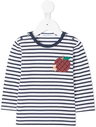 Familiar apple patch striped T-shirt