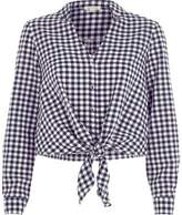 River Island Womens Navy gingham check tie front cropped shirt