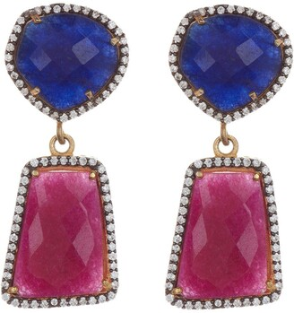 Forever Creations Usa Inc. Gold Vermeil Sterling Silver Ruby & Sapphire Drop Earrings