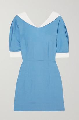 USISI SISTER Alex Two-tone Linen-blend Mini Dress - Blue
