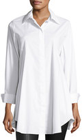 Neiman Marcus Hidden-Placket Flared Blouse, White