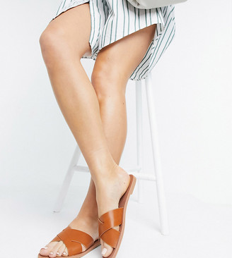 ASOS DESIGN Wide Fit Facts cross strap mule sandals in tan