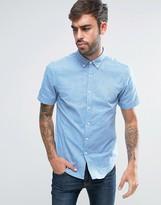 Farah Steen Short Sleeve Shirt Slim Fit 2 Color Oxford Buttondown in Blue