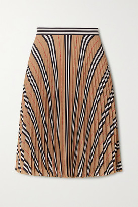 Burberry Pleated Printed Crepe Skirt - Beige