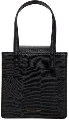 Marge Sherwood Black Lizard-Embossed Grandma Bag