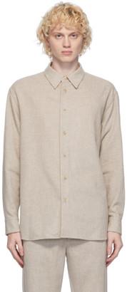 AURALEE Beige Cashmere Border Shirt