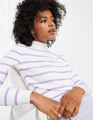 Gianni Feraud roll neck sweater lilac and cream stripe
