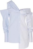 Monse - Off-the-shoulder Asymmetric Striped Cotton-dobby Shirt - Sky blue