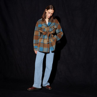 Sandro Checked jacket with belt