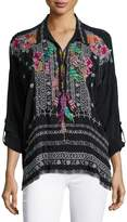 Johnny Was Indie Feather-Embroidered Blouse, Plus Size