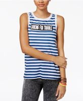 Mighty Fine Juniors' Trouble Striped Graphic Tank Top
