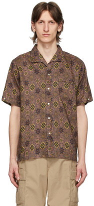 Beams Brown Flax Batik Print Shirt