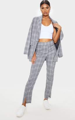 PrettyLittleThing Grey Check Print Straight Leg Suit Trouser