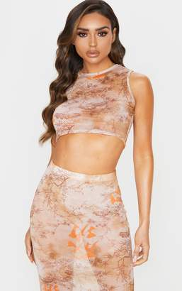 PrettyLittleThing Nude Oriental Mesh Sleeveless Racer Back Crop Top