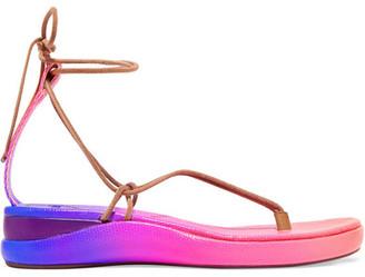 Chloé Wave Degrade Lizard-effect Leather Sandals - Pink