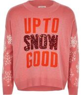 River Island Girls pink knit sequin Christmas jumper
