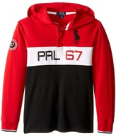 Polo Ralph Lauren Jersey Long Sleeve Hooded Rugby (Big Kids)