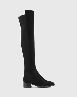 Wittner - Women's Black Long Boots - Gianna Suede & Neoprene Stretch Over The Knee Boots - Size One Size, 37 at The Iconic