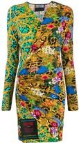 Versace Mixed Print Wrap Dress
