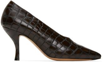 Dries Van Noten Brown Croc Heels