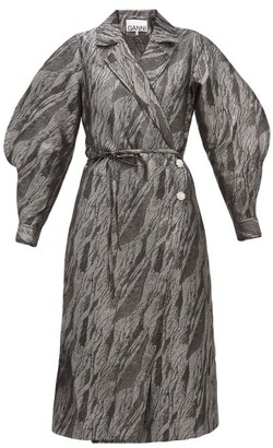 Ganni Crystal-button Brocade Wrap Coat - Womens - Silver