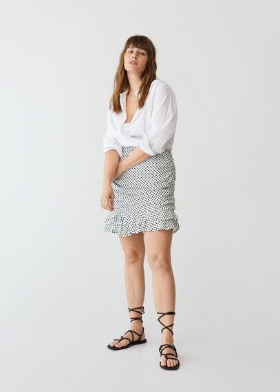 MANGO Gathered skirt with ruffles