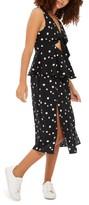 Topshop Women's Spot Peplum Midi Dress