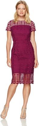 London Times Women's Petite Short Sleeve Round Neck Midi Lace Sheath Dress