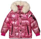 Diadora Pink Glitter Welland Piumino Corto Nylon Hooded Jacket
