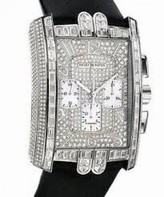Harry Winston Avenue C Chrono Diamond Pave Dial 18kt White Gold Black Satin Men's Watch