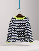 Burberry Dot Print Striped Cotton Cashmere Sweater