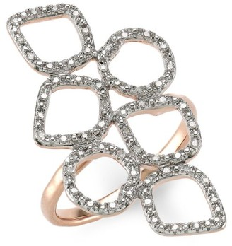 Monica Vinader Riva 18K Rose Goldplated & Diamond Pave Mini Cluster Cocktail Ring