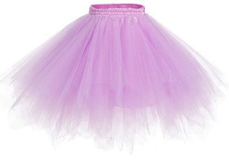 URVIP Women's 1950s Short Vintage Tutu Petticoat Ballet Bubble Dance Tulle Skirt One Size Pink Purple