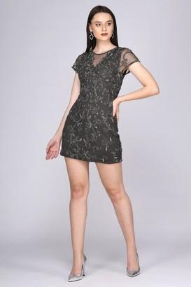 Gatsbylady London Silva Mini Open Back Dress in Grey