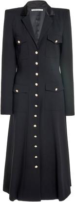 Alessandra Rich Wool Button Front Pocket Dress