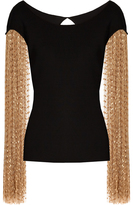 Loewe Polly fringe-sleeved cotton top