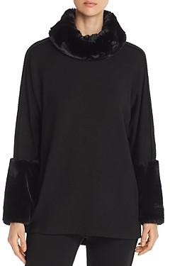 Capote Faux-Fur & Braided Trim Turtleneck Sweater